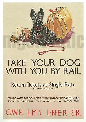 Take Your Dog By Rail   A4  Vintage Poster