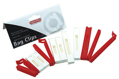 Brand New Apollo Pack Of 10 Assorted Bag Clips For Sealing Bags Freezer Safe