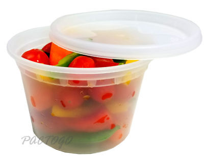 16 oz. Clear Plastic Soup/Food Disposable Containers w/Lids Microwaveable​ 96/PK