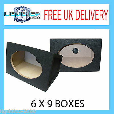 """PAIR OF CARPETED 6x9 6""""x9"""" BLACK BOXS BASS SPEAKER BOXE ENCLOSURES 18MM MDF"""