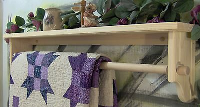 """35 and one half"""" quilt rod with shelf with removable rod unfinished"""