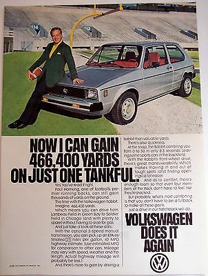Volkswagen Rabbit automobile Football player Paul Hornung vintage 1980 Car Ad