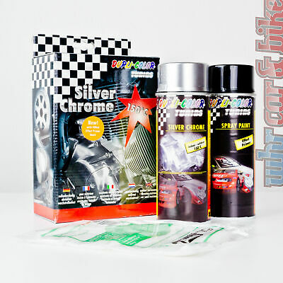 Dupli-Color Silver Chrom Effekt Spray Chromspray silber Komplettset