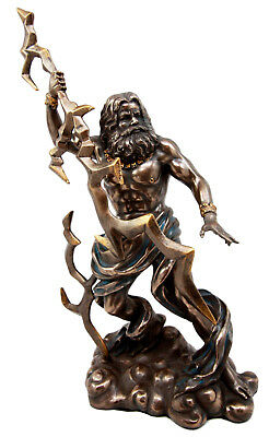 """Greek King Of The God Zeus With Thunderbolt Figurine 11.25"""" Tall Bronze Resin"""
