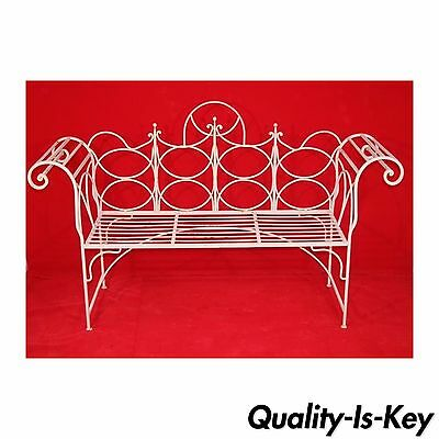 "Vintage Mid Century 40""x66"" WHIMSICAL Scroll Arm Wrought Iron Garden Bench seat"