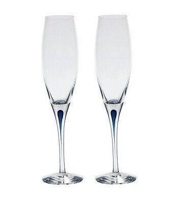 Genuine 2x Orrefors Intermezzo Blue Crystal Champagne Flute 6257414 Made in Swed