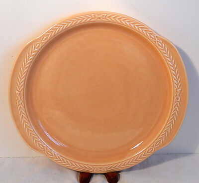 PEACH UNIVERSAL CAMBRIDGE PEACH CAKE PLATE PLATTER OVEN PROOF MADE USA 70 YRS