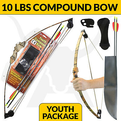 New 10 Lbs Apex Junior Kids Compound Bow Camo Archery Hunting And Target Set