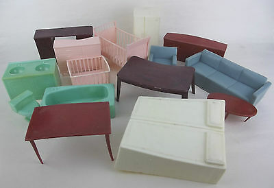 Dollhouse Miniature Lot 15 Pc Soft Plastic Furniture W Hong Kong Vintage