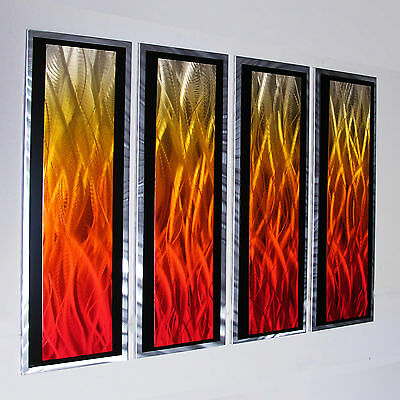 Modern Abstract Metal Wall Art Painting Sculpture Home Decor Large Red Orange