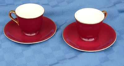 2 STEUBENVILLE POTTERY CHINA DEMITASSE CUPS & SAUCERS USA