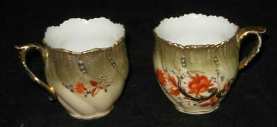 Antique Pair of Demitasse Cups Hand Painted with Floral Patterns Multi Colored