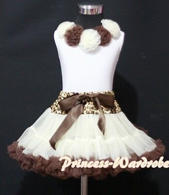 Cream Brown Leopard Pettiskirt with White Pettitop Top Mix Rosettes Set 1-8Year
