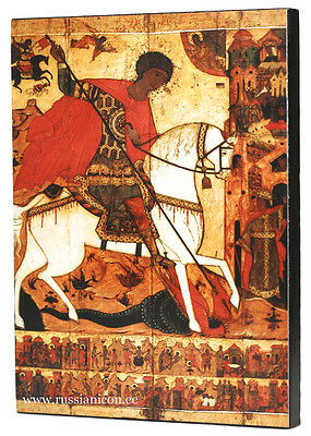 RUSSIAN ORTHODOX ICON - THE MIRACLE OF ST.GEORGE. Early XVI th century.