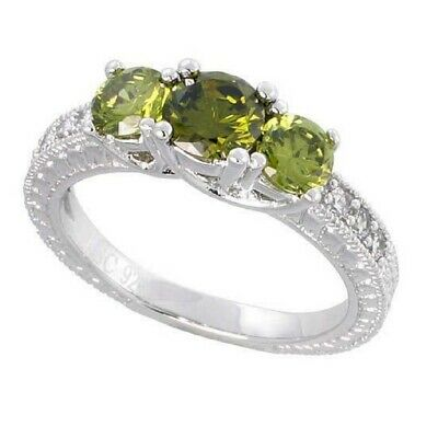 Sterling Silver Vintage Style Engagement Ring w/ Peridot Color & Clear CZ Stones