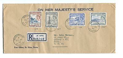 1962 St Chris Kitts Nevis Anguilla Registered Air Mail OHMS Cover To Quincy Mass