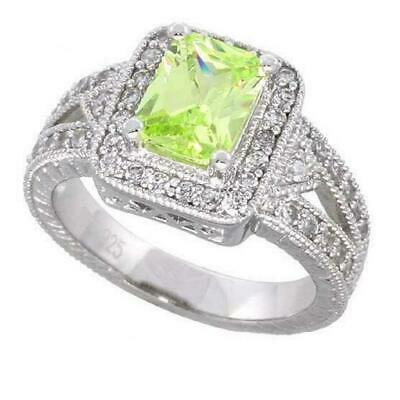 Sterling Silver Engagement CZ Ring w/ 8x6mm (1.75ct) Emerald Cut Center CZ Stone