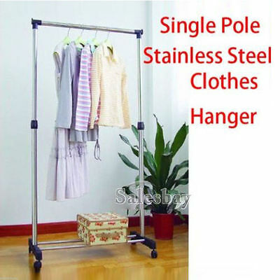 Portable Stainless Steel Single Clothes Rack Hanger Cloth Coat Garment Dryer