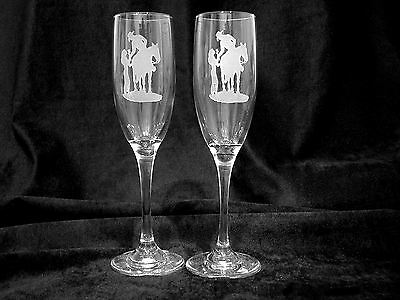 Western Theme Personalized Wedding Toasting Glasses