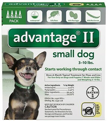 Advantage II for Dogs 3-10 lbs Green 4pk-4 Month Supply Genuine USA EPA Approved