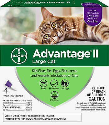 Advantage II for Cats over 9 lbs 4pk - 4 Month Supply Genuine USA EPA Approved
