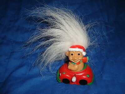 Russ Troll in Car Christmas White Knob Wind Up