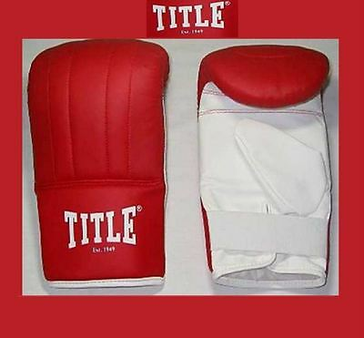 Mens Title Boxing Bag Mitts Sparring Training Leather Punching Red Gloves 105933