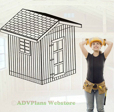 8X8 Gable Barn Shed, 26 Outdoor Backyard Wood Plans, Adv Plans, Llc., Wood Sheds