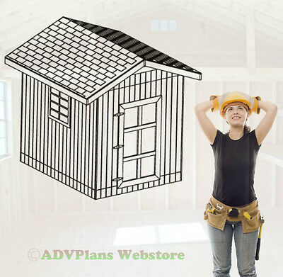 10X8 Gable Roof Utility Shed, 26 Barn Garden Shed Plans, Cd, 3D Pdf Custom Views