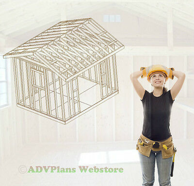 10X12 Gable Backyard Shed, Storage For Your Yard Tools, Cad Designed Cd Of Plans