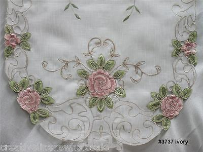 "Spring Embroidered Pink Rose Floral Sheer Table Runner 15x70"" oval New #3737W"