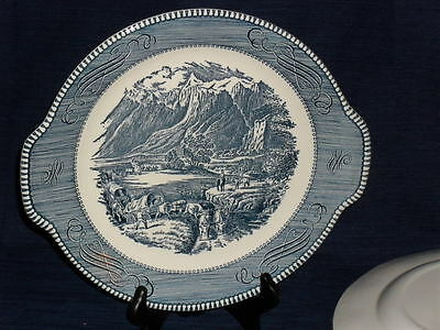 "11.5"" Royal China blue/white CURRIER & IVES SERVING PLATTER PLATE w/Tab Handles"