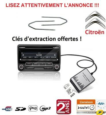 Adaptateur Usb Sd Aux Mp3 Autoradio Citroen Picasso Nemo Jumpy Jumper Berlingo