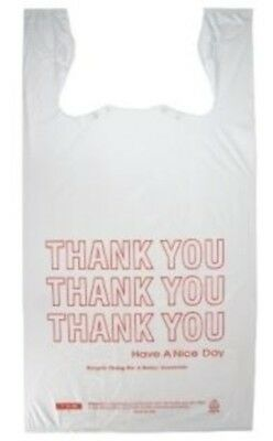 """Extra Large T-Shirt Thank You Bags 15"""" x 7"""" x 26"""" - Heavy Duty HDPE Plastic"""