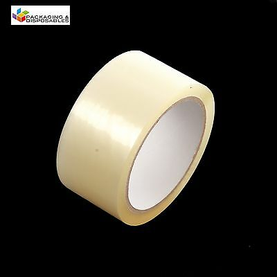 """12 ROLLS OF CLEAR LOW NOISE PACKING PARCEL PACKAGING TAPE 48mm x 66M (2"""")"""
