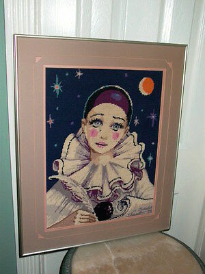Framed Harlequin Clown with Moon & Stars Needlepoint