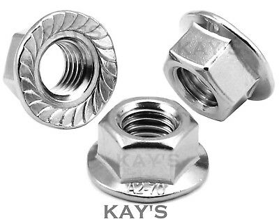 M4,5,6,8,10,12 Flanged Nuts To Fit Metric Bolts & Screws A2 Stainless Steel