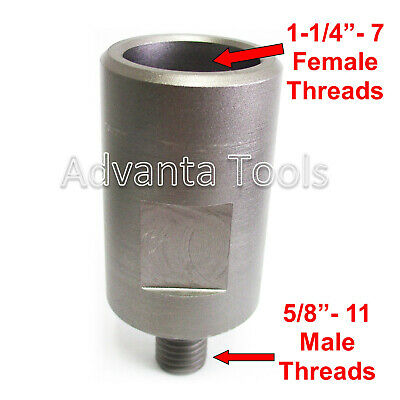 "Core Drill Bit Adapter: 5/8""-11 Threaded Male to 1-1/4"" - 7 Female"