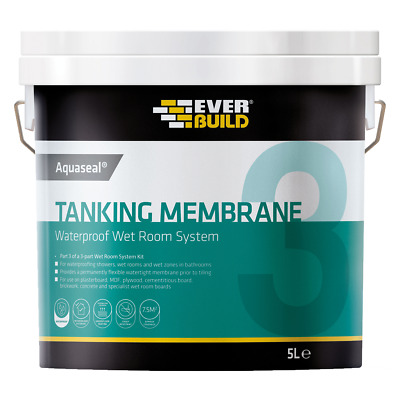 Everbuild Aquaseal Wet Room Waterproof Tanking kit Membrane Liquid 5 Litre Paint