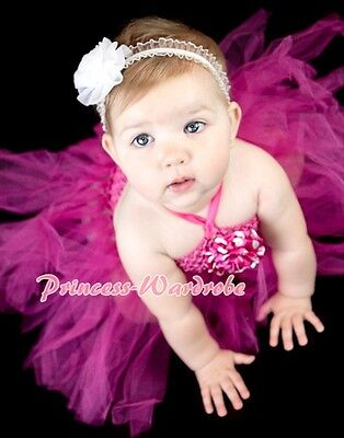 Baby HANDMADE Hot Pink Knotted Tulle Tutu Hot Pink Crochet Tube Top SET NB-24m