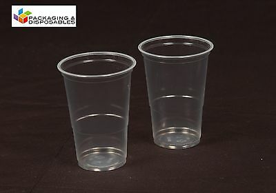 100 x CLEAR DISPOSABLE PLASTIC HALF 1/2 PINT BEER GLASSES STRONG