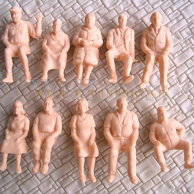 10 pcs Unpainted Figures O scale Sitting Passengers 1:48 People All Seated