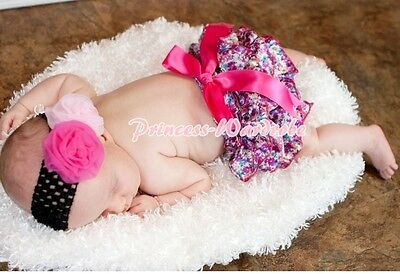Hot Pink Floral Print Bloomers Pantie with Various Bows For Pettiskirt 6m-3Year