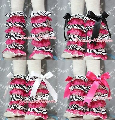Baby Girl Zebra Hot Pink Lace Leg Warmer Stocking Accessory For Pettiskirt 2-6Y