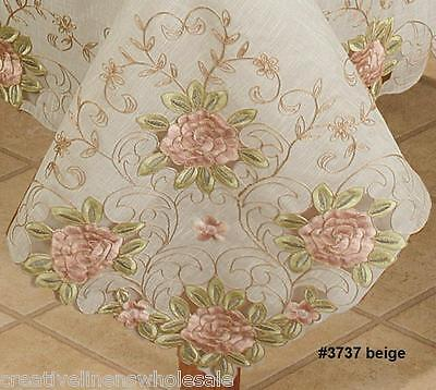 Spring Embroidered Pink Rose Floral Sheer Tablecloth with Napkins BEIGE #3737E
