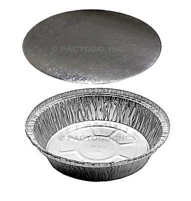 "7"" Round Aluminum Foil Take-Out Pan + Board Lids 50 Sets - Disposable Containers"