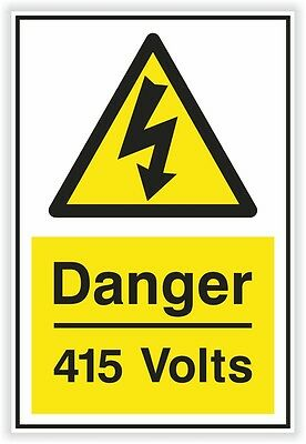 1x DANGER 415 Volts sticker Electric Warning Safety vinyl decal caution