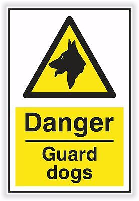 1x Danger Guard Dogs Sticker Warning Safety Caution Protected for Home Work Door