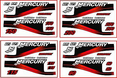 Mercury Outboard 200HP (& 90, 115 and 150) Decal Kit,Red-Saltwater Motor Decals