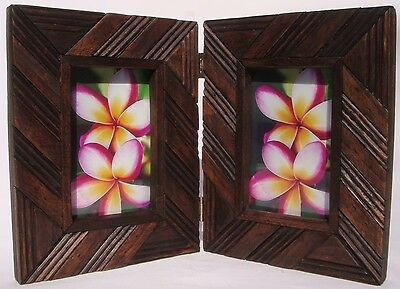 Teak Photo Frame Twin Style A Handcarved in Thailand Brand New!!
